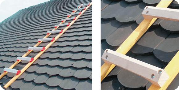 Echelle de toit en bois et aluminium