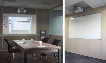 Cloison interactive avec tableau de projection (vidéoprojecteur)