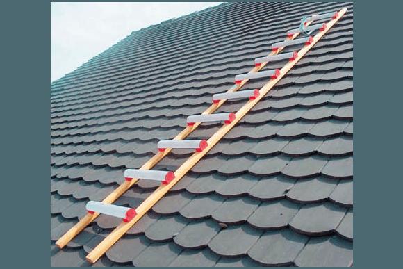 Echelle de toit pour couvreur, en aluminium / bois