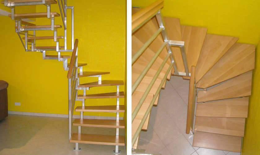 Escalier en aluminium et en bois sur mesure en Alsace