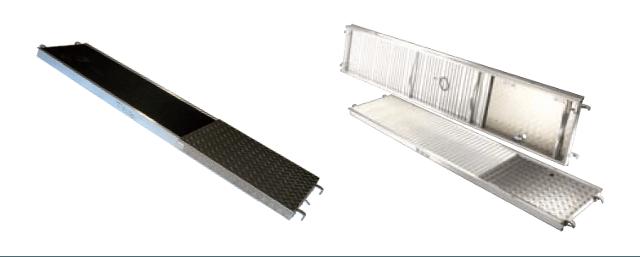Planchers d'échafaudages et de tours en aluminium et en bois